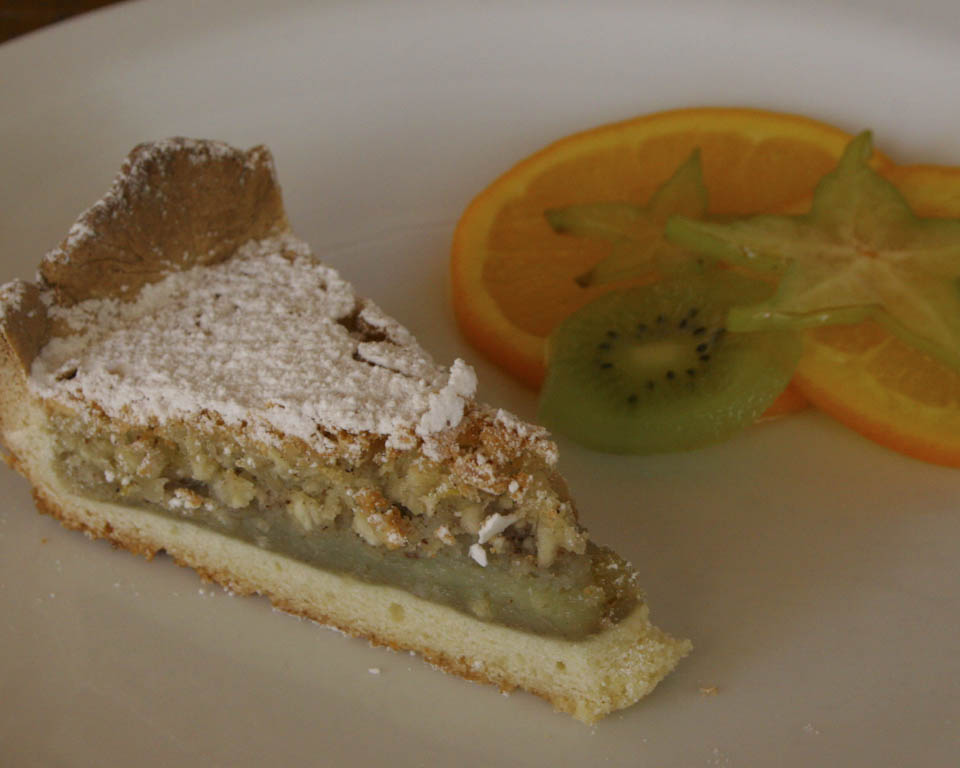 Almond tart recipe to be served with a selection of fresh fruit