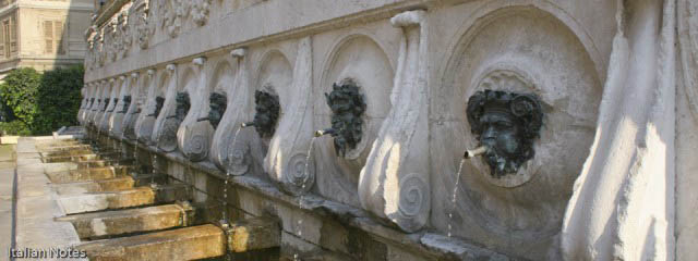 Ancona fountain: Drink with the fauns and satyrs