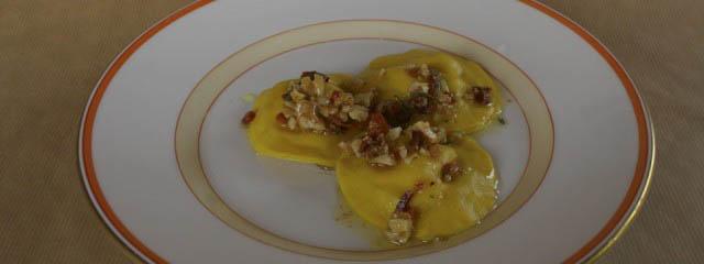 Fresh ravioli with ricotta filling