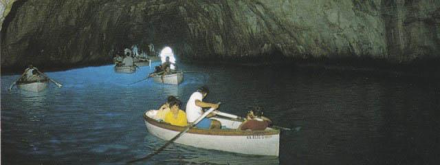 Blue Grotto Capri: Magic blue behind crack in rock wall
