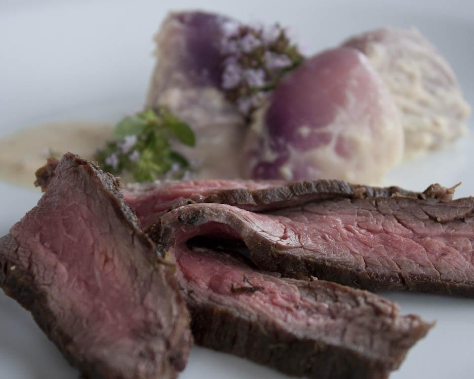 Flank steak with loads of onions recipe