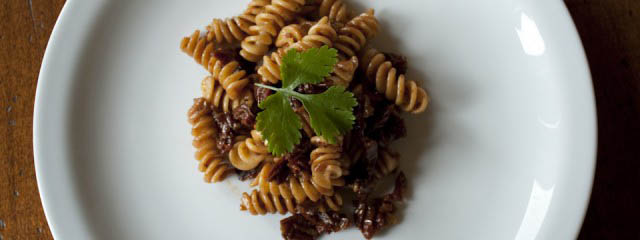 Pasta sun dried tomatoes and balsamic vinegar