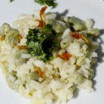 Risotto recipe with fava beans and candied lemon