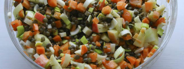 Tasty lentil salad with apple, carrots and celery root