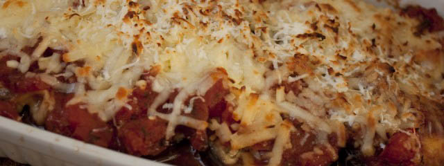 Aubergine gratin with tomatoes and parmesan