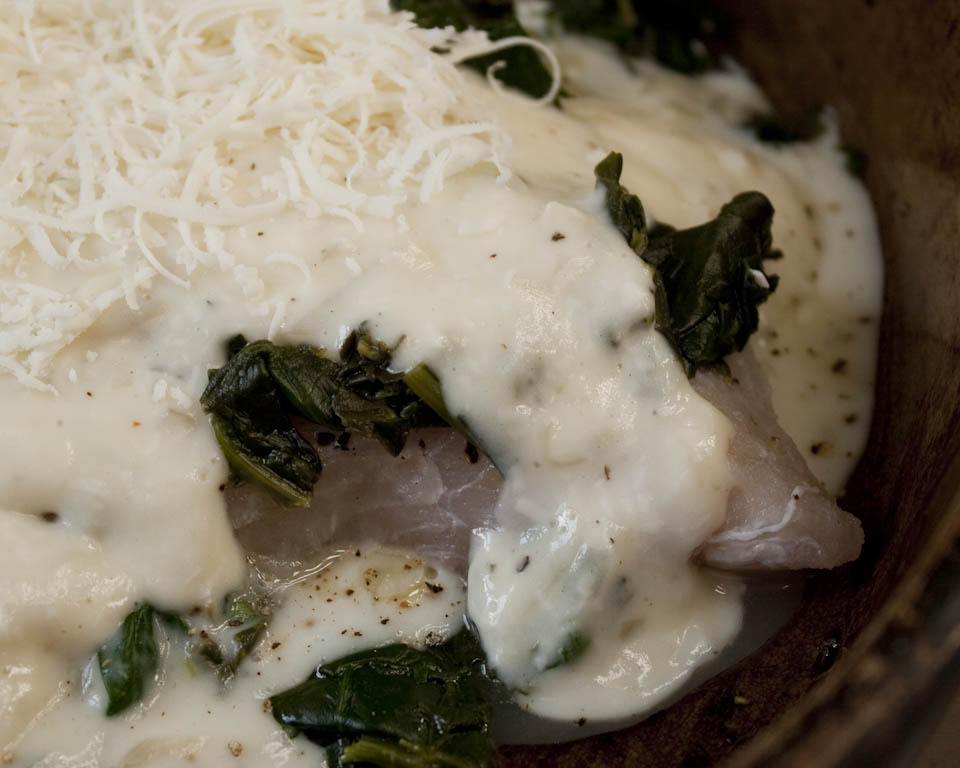 Sole with spinach and white sauce for White fish recipe