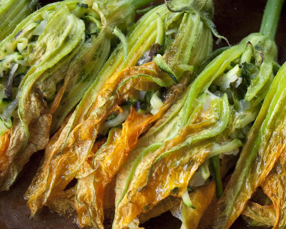 Delicate stuffed zucchini flowers