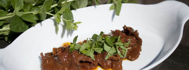 Braised beef with porcini mushrooms