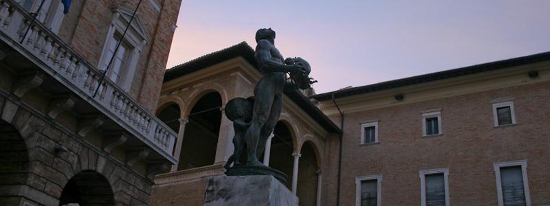 Photo of sculpture on Piazza della Liberta in Macerata, Marche