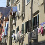 Venice sights on a clothesline