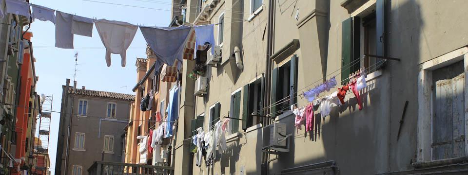 Venice sights on a clothesline