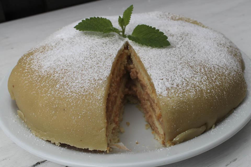 marzipan covered rhubarb cake