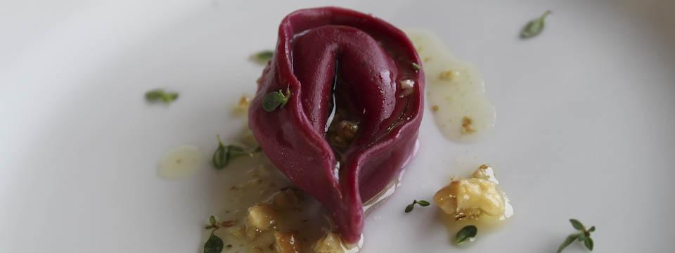 Beetroot tortellini