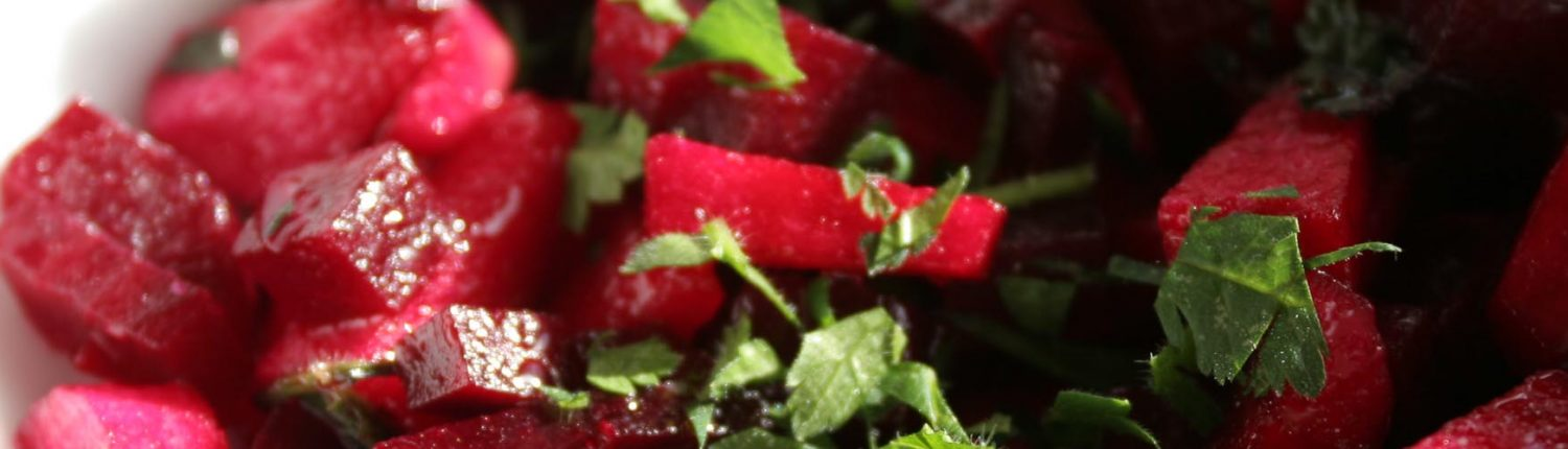 Antipasti of beetroot salad with apple and capers