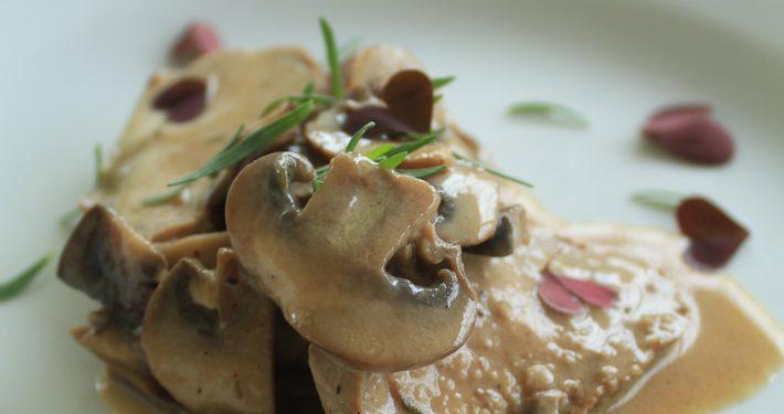 Lamb fillet with mushroom and tarragon sauce